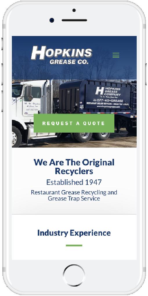 Hopkins Grease Mobile Website