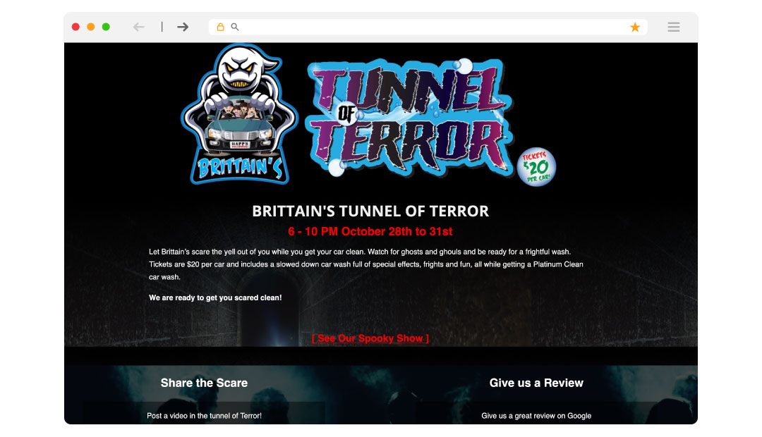 Tunnel of Terror Landing Page