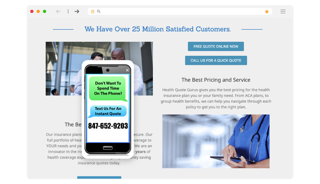 US Health Group Landing Page